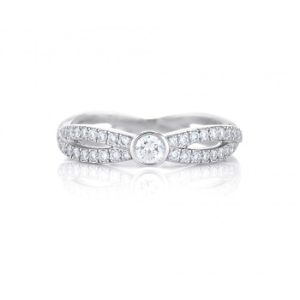 INFINITY WHITE GOLD BAND WITH SOLITAIRE DIAMOND